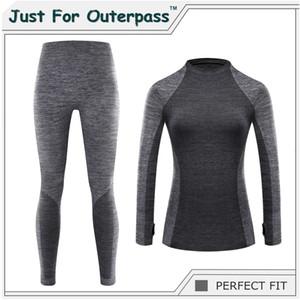 Juste pour Outerpass Marque 2019 Nouveau hiver Sous-vêtements thermiques Femmes élastique respirant Femme HI-Q Casual chaud Long Johns Set SH190922