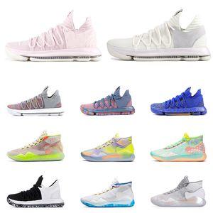 2019 New KD 10 12 Men 농구 shoes Black White FINALS Aunt Pearl EYBL 90S KID MULTI COLOR 모든 트레이너 Sports Sneaker Size7-12