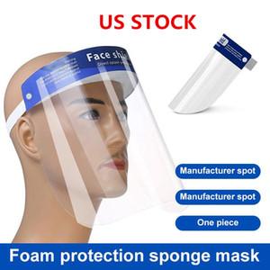 US STOCK masque de protection du visage anti-buée Isolation Masques complets de protection avec protection élastique bande serre-tête éponge HD PET transparent