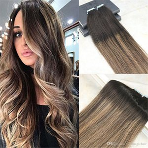 Remy Tape in Hair Extensions Human Hair Balayage Color Dark Brown Fading to Light Brown Unprocessd Human Hair Extensions Seamless 100g 40pcs