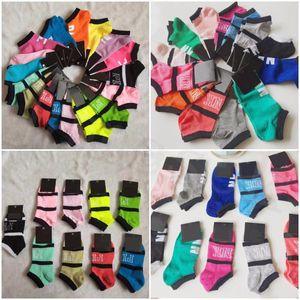 Carta de color rosa calcetines de las mujeres calcetines de deporte Zapatillas de algodón rosa del amor de las muchachas atractivas para el tobillo Medias calcetín corto VS verano de la nave calcetines con las etiquetas WWW
