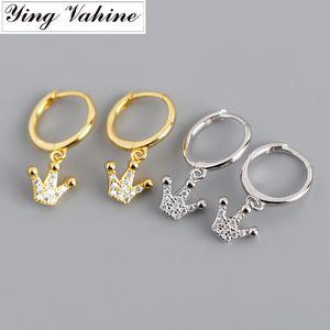 ying Vahine 100% 925 Sterling Silver CZ pingente de coroa Brincos para Mulheres