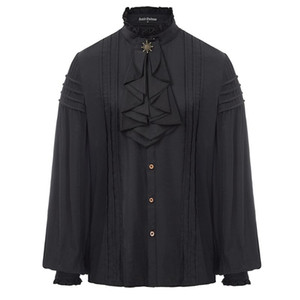 Spring shirt Men Steampunk Victorian Renaissance Long Sleeve blouse club party evening ruffles pleated Jabot Collar Shirt Tops