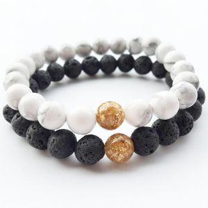 Natural Stone braccialetto braccialetto delle coppie degli amanti Balance abbastanza Nera Gioielli White Stone Beads Strand Distanza Bracciali Bracciali Nero Lava