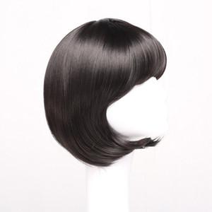 Bobo courte perruque de cheveux raides Lady Bobo Head Qi bangs perruque de filles
