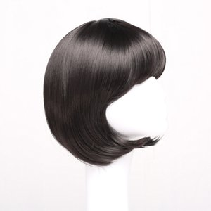 Bobo pelucas de pelo recto corto Lady Bobo Head Qi bangs Girls Wig Auricular peluca