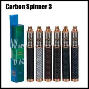 Spinner de carbono 3 Bateria 1650mAh Tensão Variável Spinner Vape Pen Bateria Ego Thread Vision Torção Vaporizador