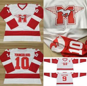10 Dean Youngblood Hamilton Mustangs Hockey-Trikots 9 SUTTON Moive White Red Alle gestickten Uniformen der Männer