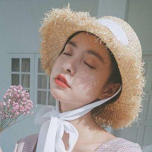 Beach Wide Brim Hats Women Summer Sun Hats With Bowknot Cute Straw Caps For Girls Outdoor Beach Hats 56-58cm