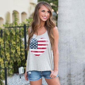 Seksi Yaz Stil Kolsuz Kadınlar Bluz Yelek Gömlek için AmericanA Bayrak Baskı Stripes Tank Top Tops