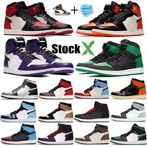 Bred pies jumpman 1 1s hombres de baloncesto Zapatos de tacón blanco negro púrpura DeStROzaDaS Tablero trasero de la tapa 3 de linaje UNC zapatillas de deporte para hombre de patentes deportivos
