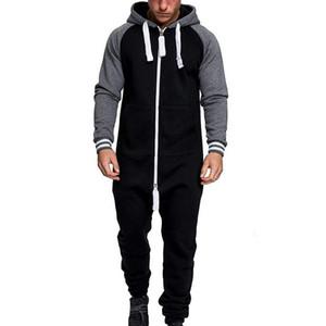 Los hombres de una pieza de ropa remiendo pijama Mono corto para hombre de la cremallera con capucha camuflaje del mono Streetwear Moda Otoño Invierno Trajes T200507