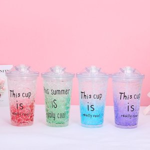 2pcs set 24oz Color Changing Cup ECO Friendly Plastic Drinking Tumbler with Lids Magic Temperature Sippy Mug Candy Colors Coffee Tea Water