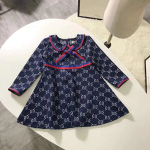 Très bonnes filles designer robe enfants en coton à manches longues enfants outfit enfants automne automne princesse filles robe