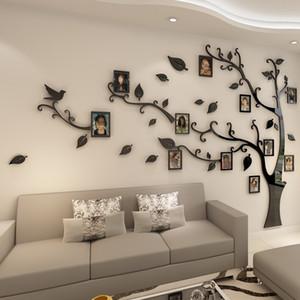 3D 아크릴 트리 사진 프레임 벽 스티커 크리스탈 거울 스티커 붙여 TV 배경 벽 DIY 가족 사진 프레임 벽 장식