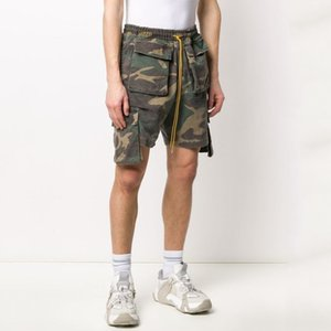 Cordão curtas 20SS Camo Vintage Pants Lavados Tooling cintura elástica Shorts Esporte Academia Casual High Street Outdoor calças curtas HFYMKZ207