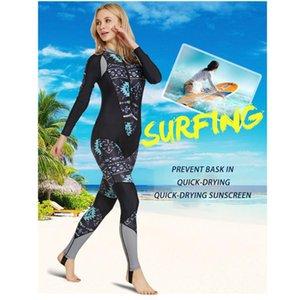 2020 femmes à capuchon One Piece plongée Costume anti-UV à manches longues Jump Suit Body Respirant Séchage rapide plongée avec tuba Wetsuit