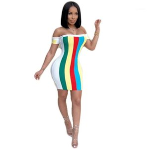 Bodycon Dresses Females Fashion Casaul OL Clothes Ladies Sexy Slash Neck Dress Summer Designer Womens Rainbow Striped Print Sleeveless