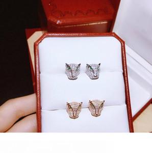 Gioielli di lusso orecchino in argento sterling 925 moda Designer Donna Panthère de C della serie Animal testa del leopardo della vite prigioniera del 2 colori di nozze