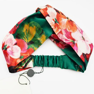 Известный Обильный 100% полосы Шелковый крест оголовье девушки женщин Упругие волосы шарф RetroTurban головные уборы Подарки Цветы Hummingbird орхидеи