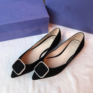 Women's black sheepskin nude leopard skin black gold leather pointed women's flat shoes classic square button women's single shoes dress sho