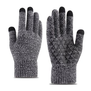 Fashion- knitting touch screen gloves men's winter to increase warm and velvet thickening non-slip wool outdoor