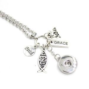 Gros Ballet Cadeau 18mm Snap Bijoux Foi Chrétienne Inspiration Charmes I love Jesus Pendentif Collier Cadeaux Snap Bouton Collier
