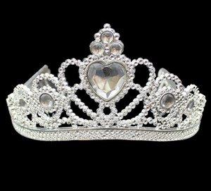 XMAS Cosplay Principessa bambini Crown Tiara plastica festa di compleanno favore del regalo di spettacolo di promenade ragazze d'argento della resina di cristallo del cuore fasce