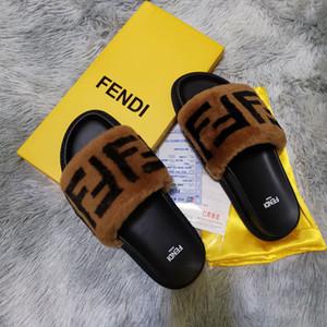 kutu F002 olan kadınlar Kürklü Terlik kabartmak mektup Moda gündelik Ayakkabı Çizme Moda Lüks erkekler Sandalet Kürk Slaytlar Terlik