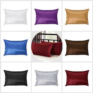 1 Par de Sólidos Silk Pillow caso sólido Pillowcase Standard Queen Size Non-Toxic Eco-Friendly