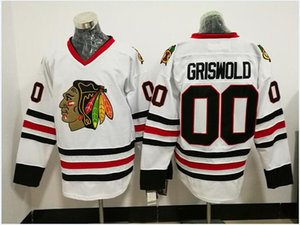 Chicago Blackhawks 00 Clark Griswold White Hockey Jerseys Vintage CCM Jersey S- 4XL