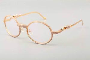 Nuevo envío libre de DHL Home Golden Luxury Leopard Diamond Metal Glasses FrameT7550178Quality Glasses Frame Full Frame Diamond Size 55 -22-140