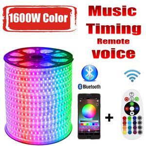 Uzaktan Şerit LED RGB kontrol LED Strip 220v RG 1600W Renkleri 5050 RGB Açık Su geçirmez 220 V 10M 20M 100M 200M