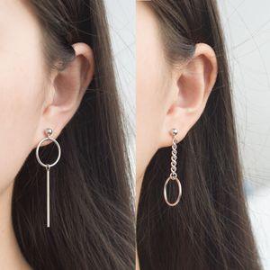 Coreano simples Geometria Círculo Cadeia japonesa Faixa não simétrica Long Brincos Brincos Anti-Alergia Ear Stud Versátil Mulheres
