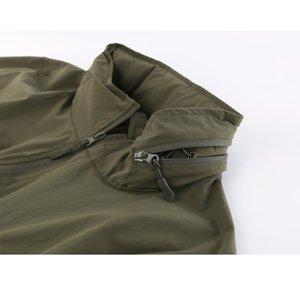 Verano del Mens Soft Shell sola capa delgada de secado rápido táctico chaqueta al aire libre Ciclismo Escalada a prueba de agua y transpirable con capucha Tops
