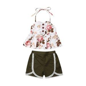 Halter Çocuk Bebek Kız Yaz için Çiçek Kıyafetler Şort Pantolon Püskül Kıyafetler Giyim 1-6Y Tops