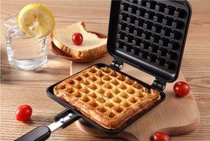 Molde waffle bricolaje Recubrimiento antiadherente Herramientas de pastel Bandeja para hornear Asa con aislamiento de baquelita puede usar en una estufa de gas 21x14 cm