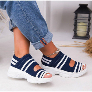 Women's Sandals Woman Shoes Stretch Fabric Slip On Hollow Out Peep Toe Thick Bottom Casual Cover Heel Ladies Female 2020 New CX200618