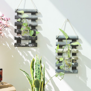 Wooden Hydroponic Plant with Glass Container Pendant Wall Hanging Flower Arrangement Floral Vase Home Decor Balcony