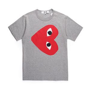 2019 Nuovo CDG cuore rosso Uomini maglietta casuale Mens maglietta di modo 100% camicia di cotone CDG Uomo Donna O-Collo T-shirt Cuore Rosso Tees Stampa Top