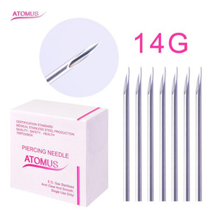 New 100pcs / Box 14G 16G 18G à usage unique Body Tattoo Piercing aiguilles stériles nez d'oreille pour le corps Nombril Titiller Art Tattoo Supplies