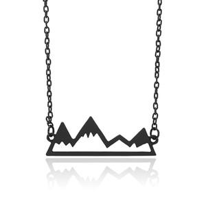 Collier de montagne Minimalist Top Pendant Snowy Mountain Randonnée pédestre Voyage en plein air Voyage Bijoux Montagnes Cadeaux Escalade Chaînes Or / Argent Colliers