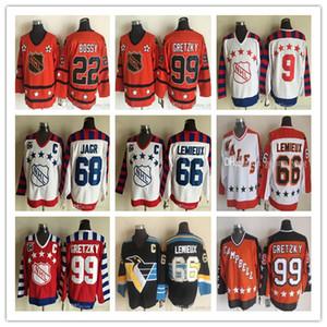 Uomini 2019 Vintage economici All Star pullover del hokey 99 Wayne Gretzky 22 Mike Bossy 66 Mario Lemieux 68 Jaromir Jagr 9 Mike Modano cucita Jersey