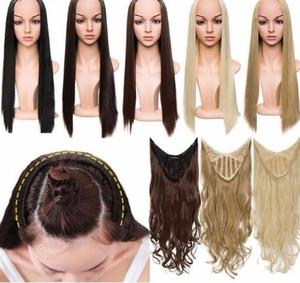 180-200g U-part Clips de extensión de cabello sintético Recto Rizado Ondulado 3/4 Cabeza completa Peluca Falso Pelucas Marrón Rubio