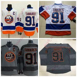 Мужские дешевые Йорк Айлендерс трикотажные изделия 91 Джон Таварес Джерси сшитые высокое качество хоккей Джерси белый серый