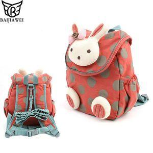 BAIJIAWEI 2019 Animal Style sacchetto di scuola sveglio del coniglio di peluche dello zaino Drawstring bambini Schoolbag per ragazze asilo Bambini Bag Y200107