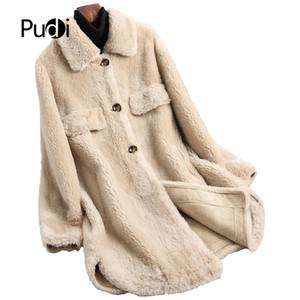PUDI A19002 2019 mujeres de lana verdadera nueva moda esquila dama chaqueta de estilo largo abrigo de lana ocio otoño / invierno