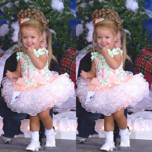 Abiti da spettacolo per bambina Miss America Ragazza personalizzata per ragazza in organza con cupcake Flower Girl Pretty Dress for Little Kid