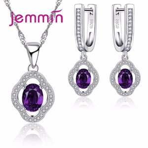 Jemmin Luxury New Fashion Viola CZ Crystal Wedding Party ovale Cut Necklace Orecchini Set per le donne Princess Set di gioielli C18122701