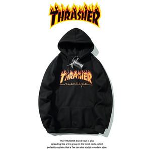 19ss Hip Hop manga comprida com capuz Hoody dos homens hoodies camisolas THRASHER Chama Vestuário clássico Imprimir além de veludo com capuz Roupa 2020